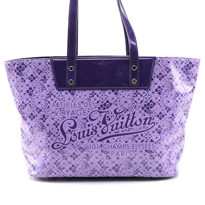 Limited Edition Louis Vuitton Cosmic Blossoms Voyage Tote in Purple Vinyl