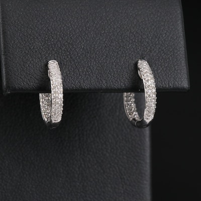 14K Pavé Diamond Inside-Out Huggie Earrings