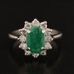 14K 1.00 CT Emerald and Diamond Ring