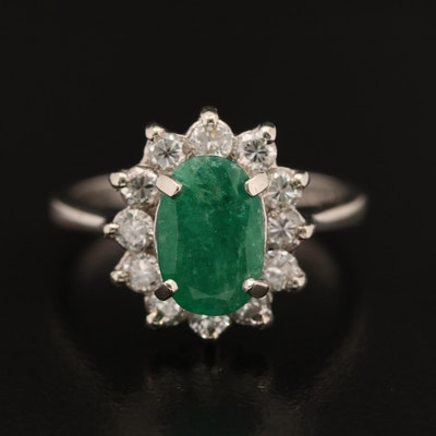 14K 1.00 CT Emerald and Diamond Ring
