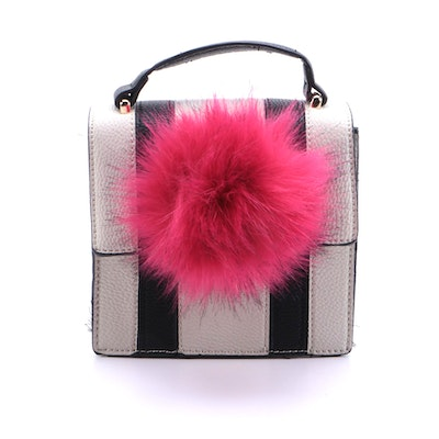 Jules Kae Faux Fur Pom Pom Striped Vegan Leather Convertible Top Handle Bag
