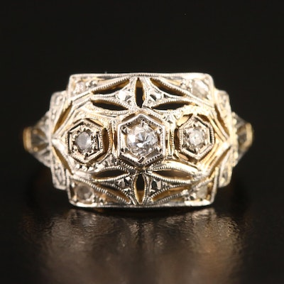 14K Diamond Openwork Ring with Platinum Top