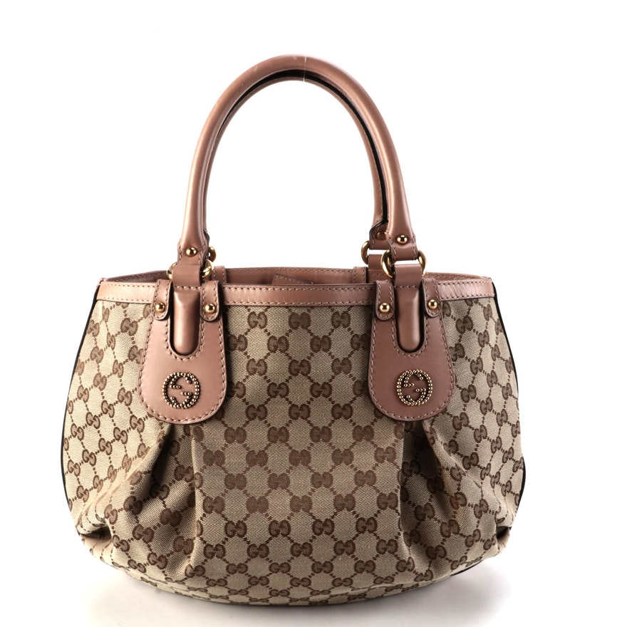 Gucci Scarlett Interlocking GG Small Tote Bag in GG Canvas with Leather Trim