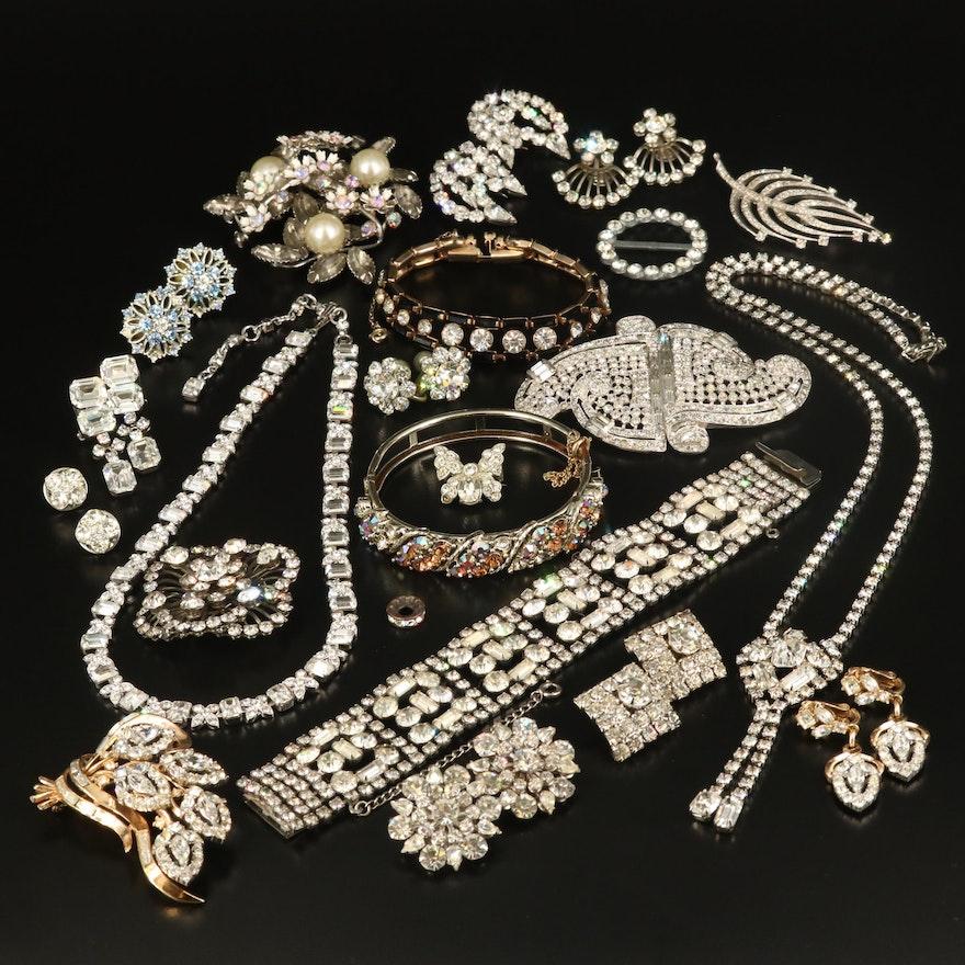 Rhinestone Jewelry Featuring Crown Trifari Brooch and Earrings