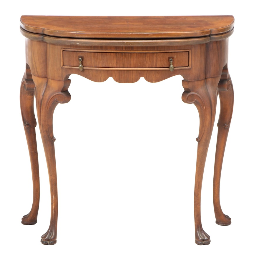 George II Style Burl Walnut and Crossbanded Double-Gateleg Games Table