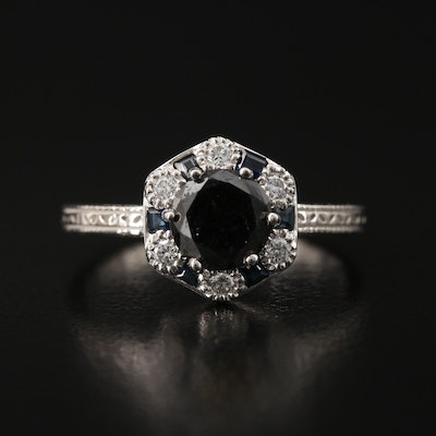 Platinum 1.28 CTW Diamond and Sapphire Ring