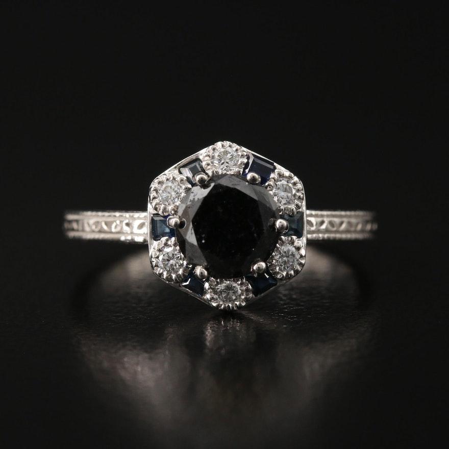 Platinum 1.28 CTW Diamond and Sapphire Ring