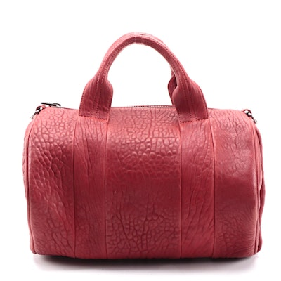 Alexander Wang Stud-Bottom Rocco Satchel Two-Way Bag in Red Lambskin