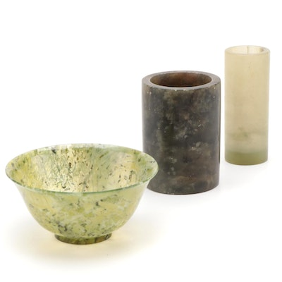 Two Chinese Jade Cylindrical Vases and a Bowl