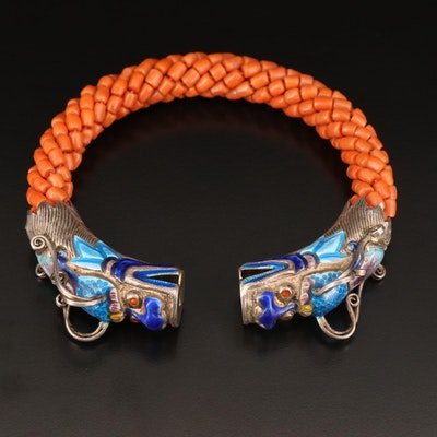 Sterling Beaded Coral and Enamel Dragon Cuff