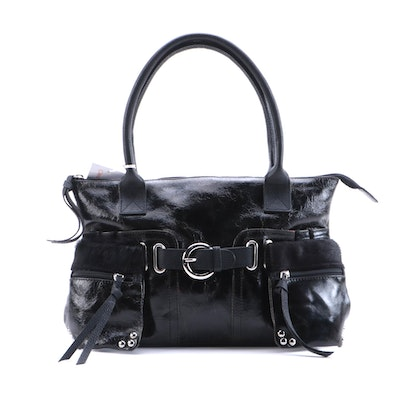 Cleo & Patek Black Crinkle Patent Leather and Calf Hair Handbag
