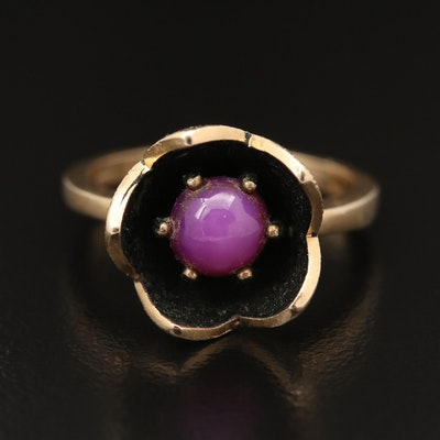 14K Star Ruby Flower Ring