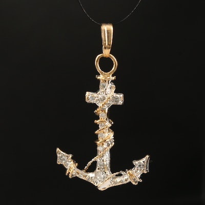 14K Two-Tone Diamond Anchor Pendant
