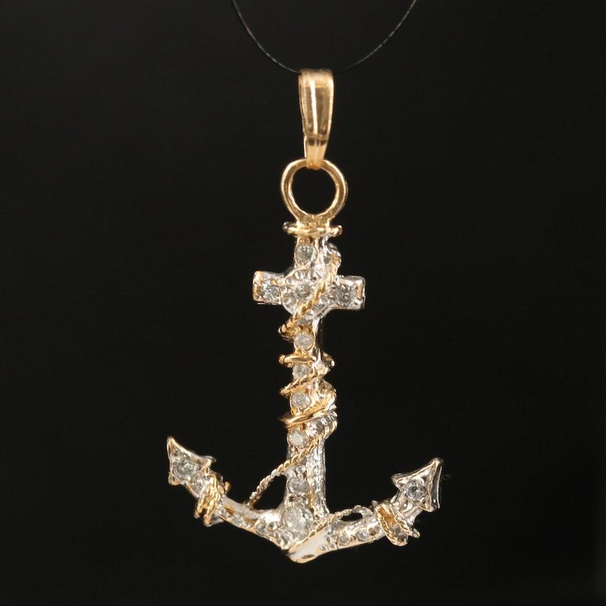 14K Two-Tone Diamond Anchor Pendant