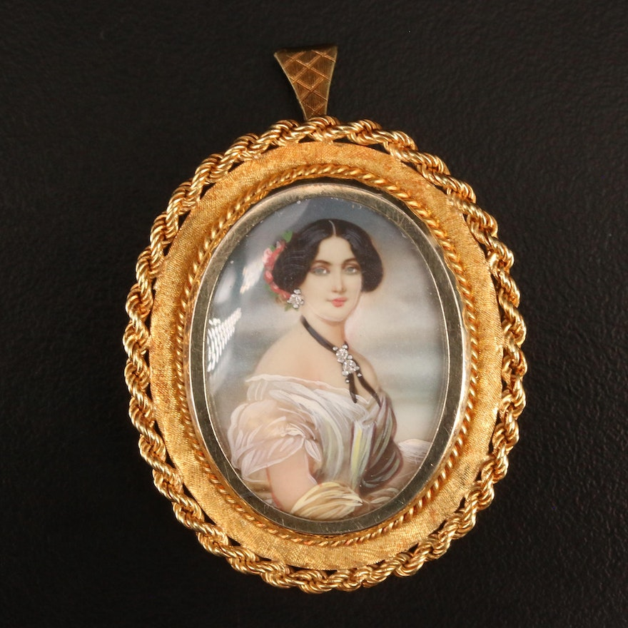 Vintage 18K Painted Enamel and Diamond Woman's Portrait Habillé Converter Brooch