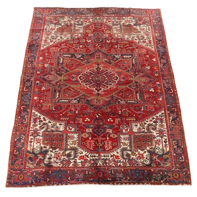 9'6 x 12'11 Hand-Knotted Persian Heriz Wool Room Sized Rug