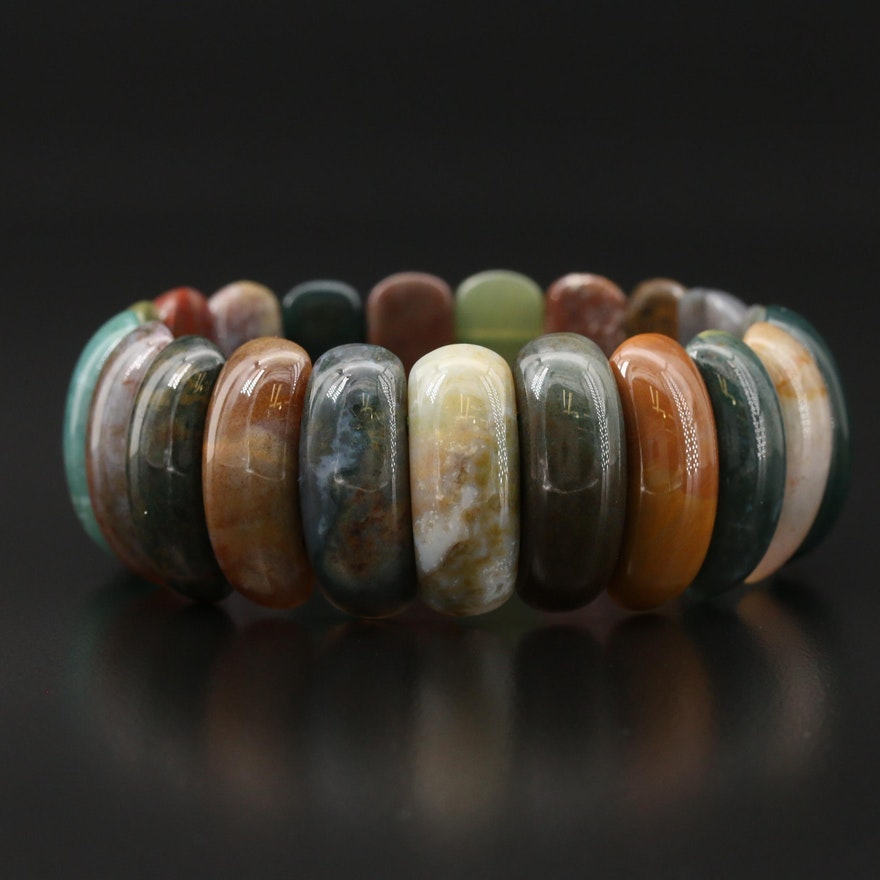 Jasper and Agate Expandable Bracelet