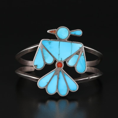 Sterling Thunderbird Cuff with Turquoise and Coral Inlay