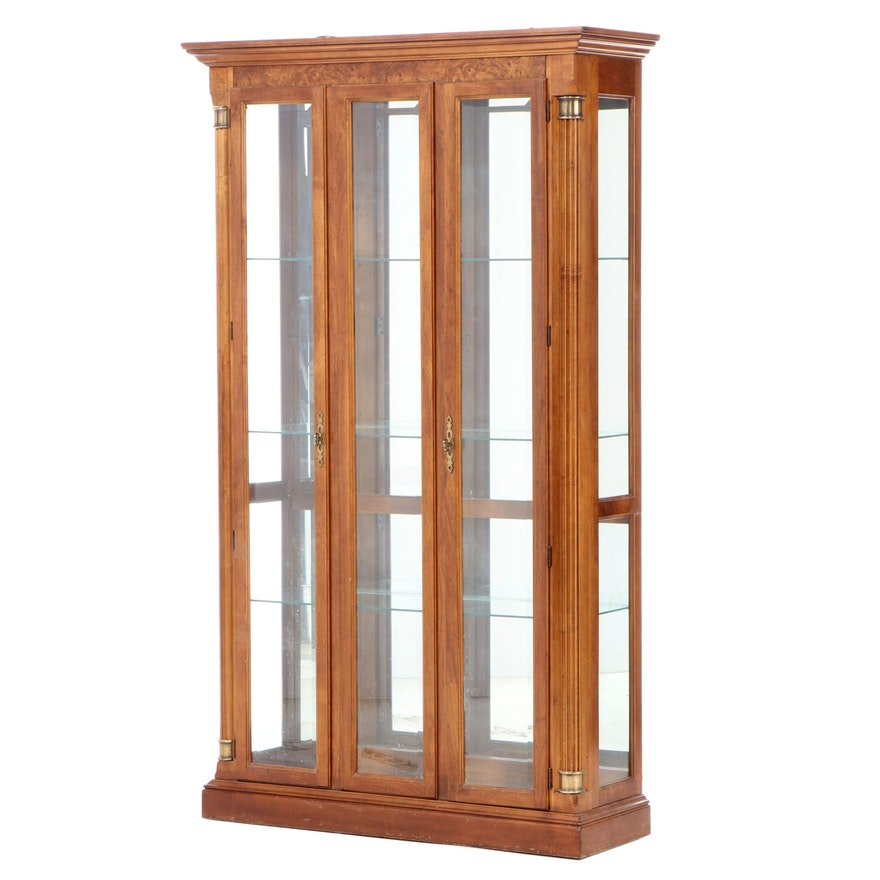 Neoclassical Style Walnut and Burl Walnut Display Cabinet