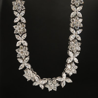 Sterling Floral Link Necklace with Cubic Zirconia