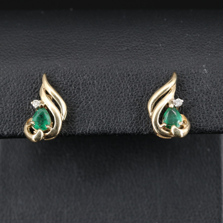 10K Emerald Stud Earrings with Diamond Accents