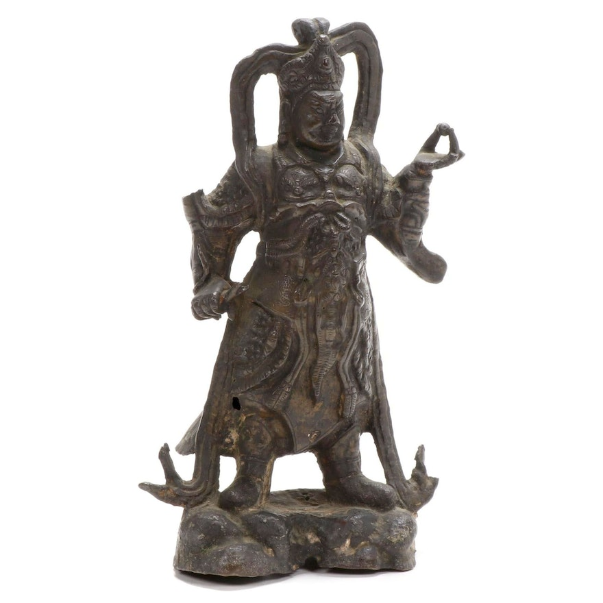 Chinese Cast Bronze Sculpture of a Guardian King