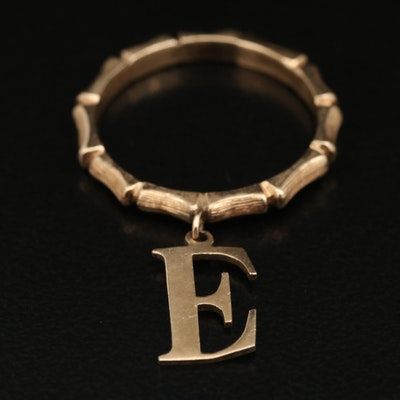"""14K Bamboo Band with Letter """"E"""" Charm"""