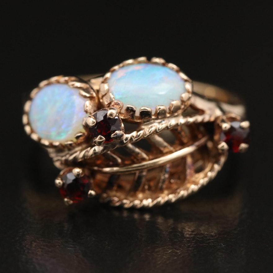 14K Opal and Garnet Foliate Ring