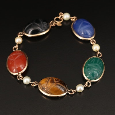 Gold Filled Scarab Bracelet Including Tiger's Eye, Carnelian, Pearl and More