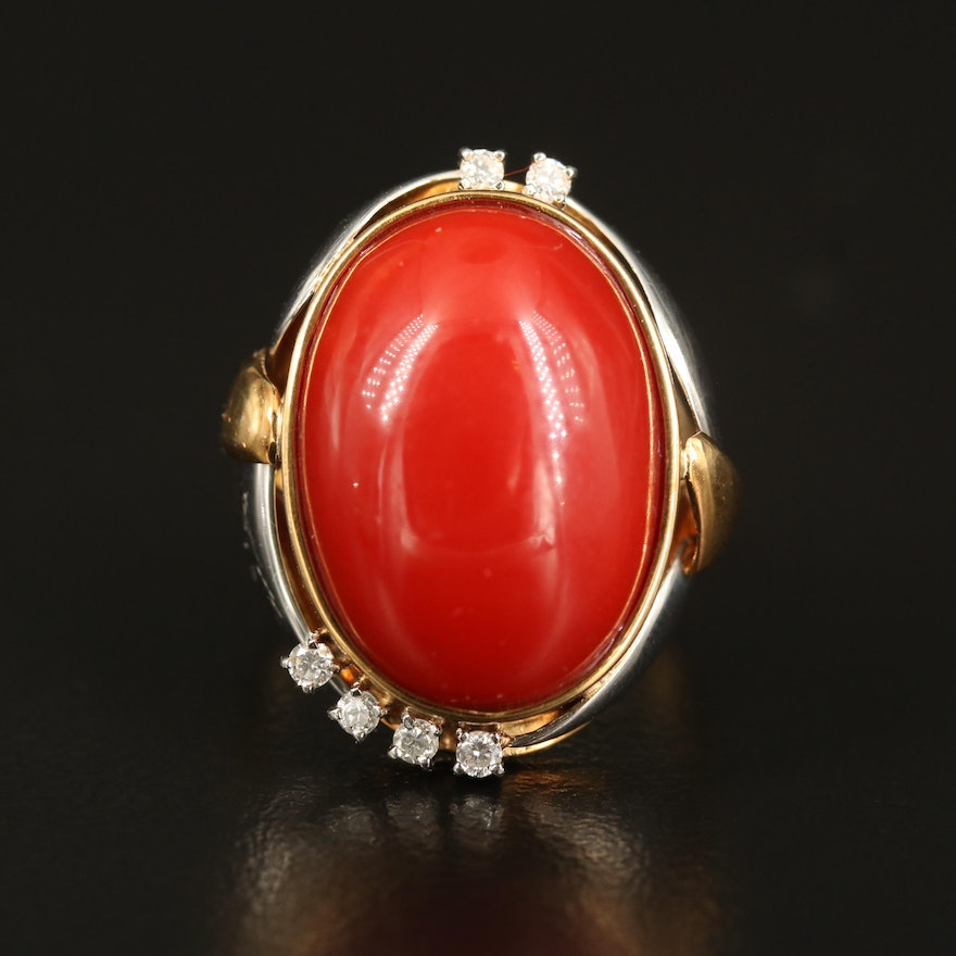14K Oval Coral Cabochon Ring with Diamond and Platinum Accents