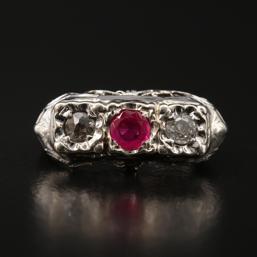 1930s 14K Ruby and Diamond Ring