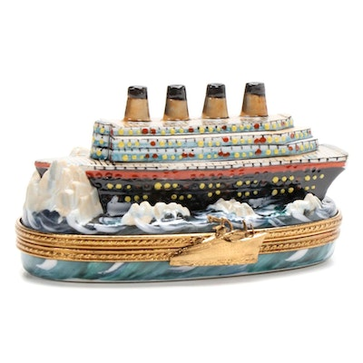 "Sinclair Hand-Painted ""Titanic"" Porcelain Limoges Box"