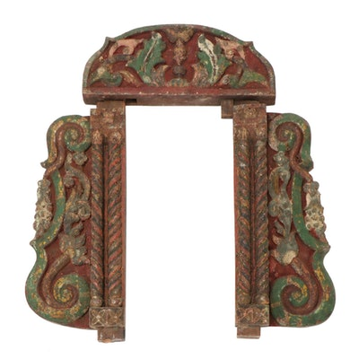 East Asian Hand-Painted Carved Wood Wall Hanging, Early 20th Century