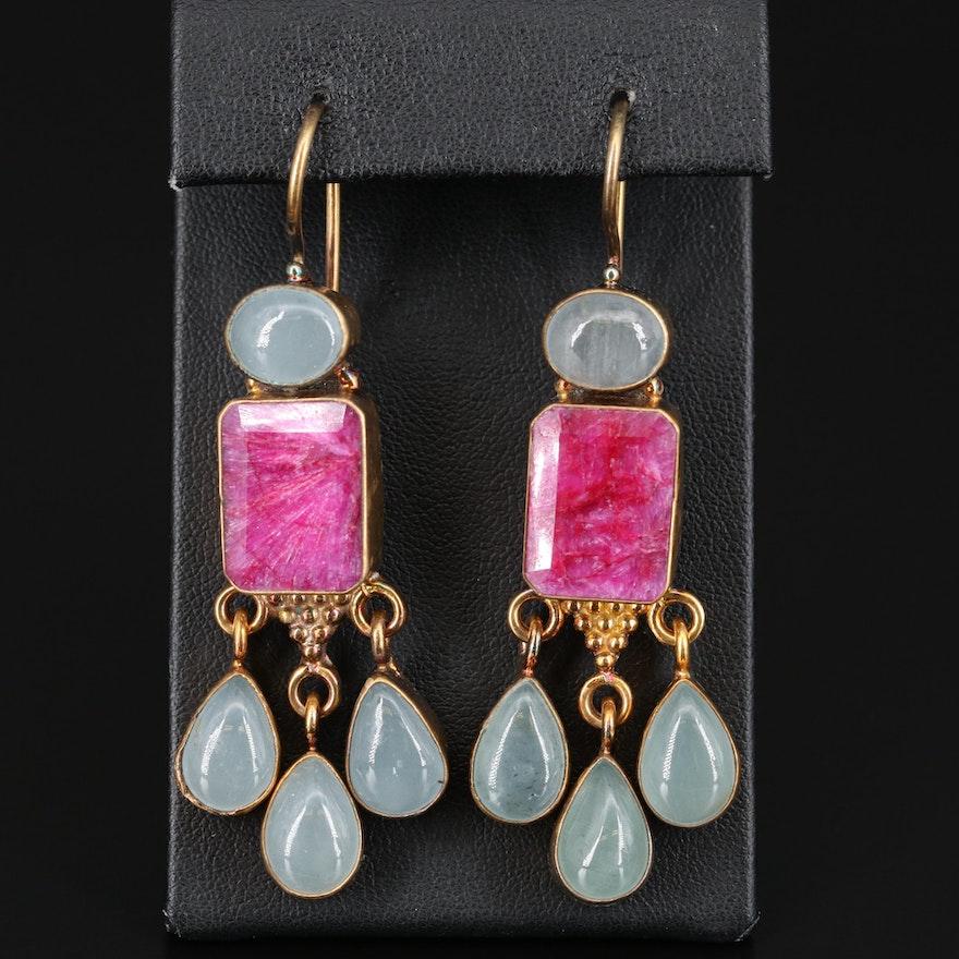 Sillimanite and Aquamarine Dangle Earrings