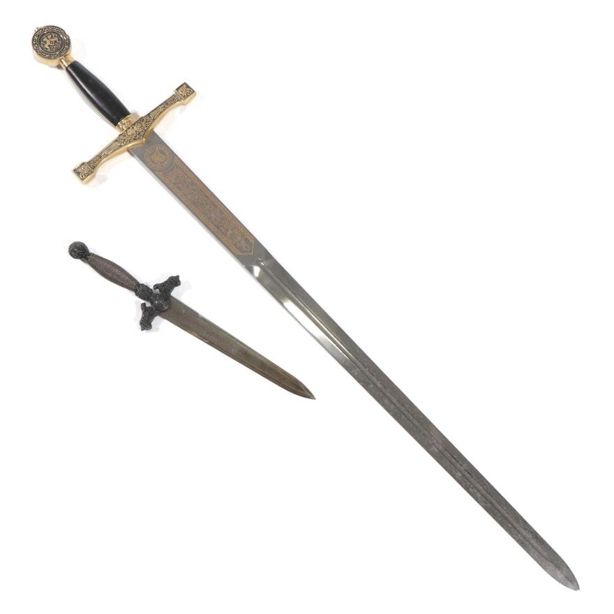 "Fantasy King Arthur's ""Excalibur"" Sword, and Spanish Toledo Dagger"