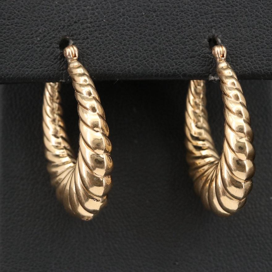 14K Hollow Hoop Scalloped Earrings