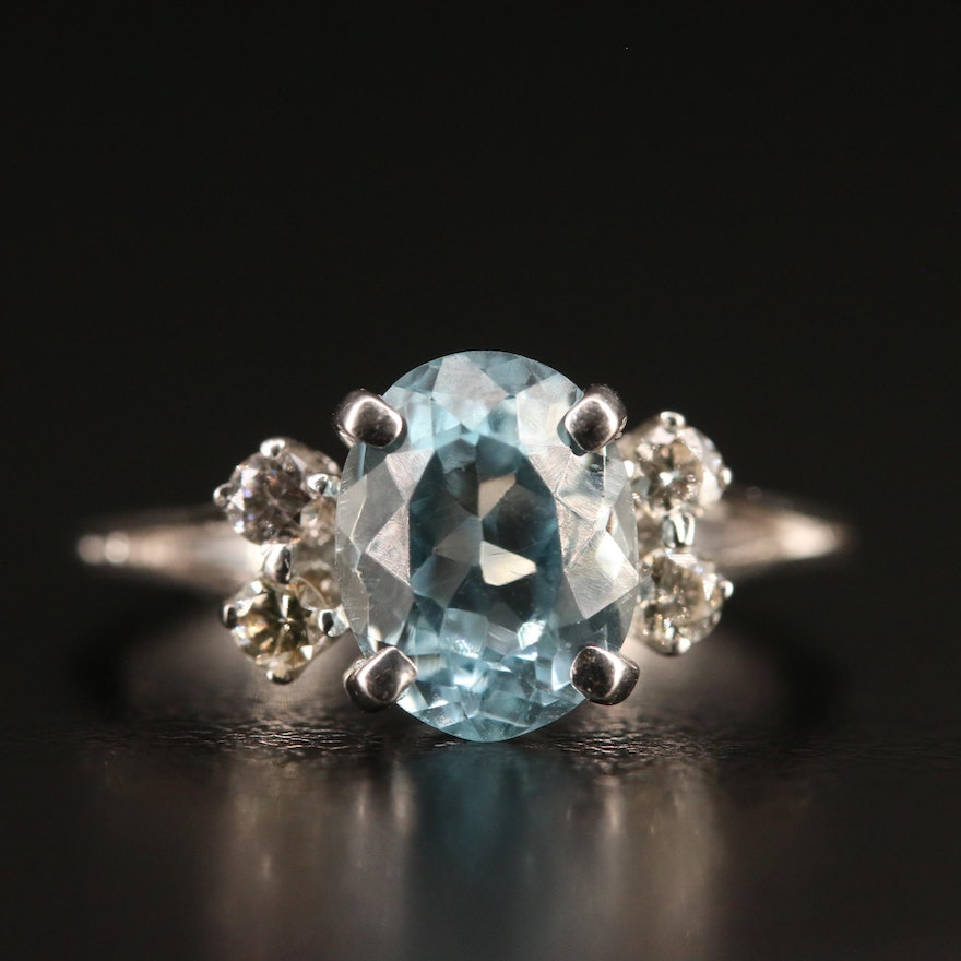 14K Topaz and Diamond Ring with Split Shoulders