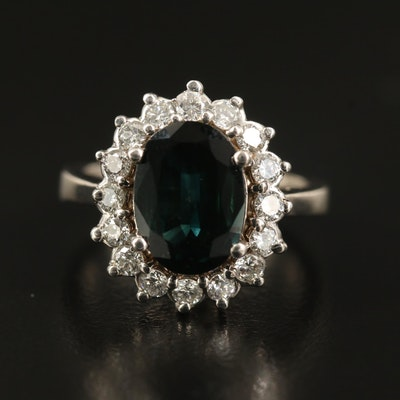 14K 3.01 CT Sapphire and Diamond Halo Ring