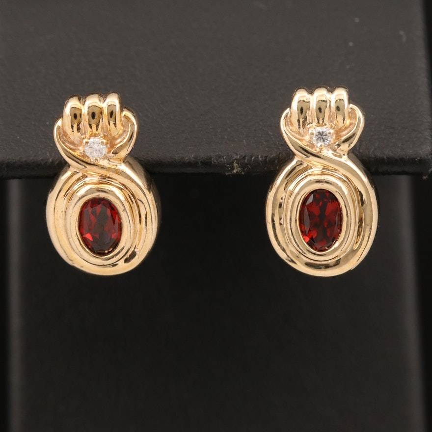 10K Garnet and Diamond Earrings