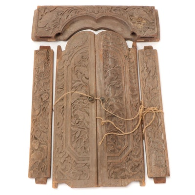 East Asian Carved Wooden Wall Hanging with Floral Designs, Early 20th Century