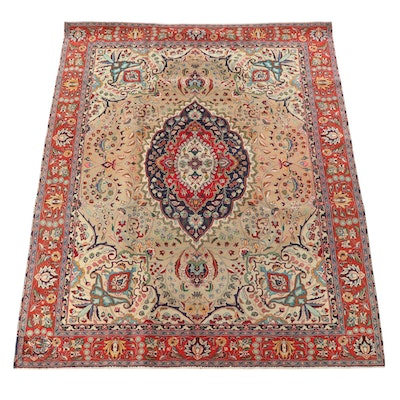 8'0 x 10'5 Hand-Knotted Persian Yazd Wool Area Rug