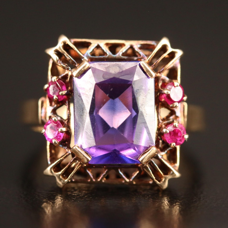 10K Sapphire and Ruby Ring
