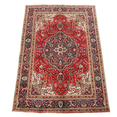 6'5 x 9'10 Hand-Knotted Persian Kashan Wool Area Rug