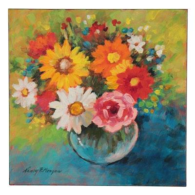 "Nancy F. Morgan Floral Acrylic Still Life ""Technicolor,"" 21st Century"