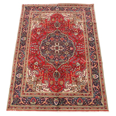 6'7 x 9'9 Hand-Knotted Persian Kashan Wool Area Rug