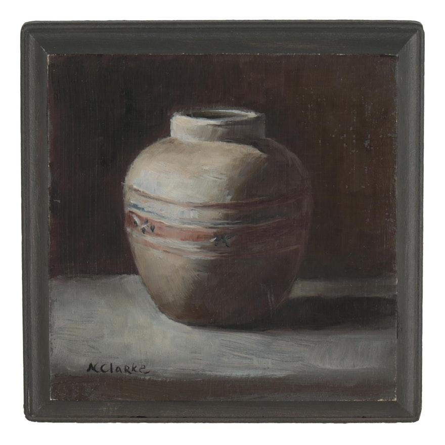 Natalie Clarke Still Life Oil Painting of a Vase, 21st Century