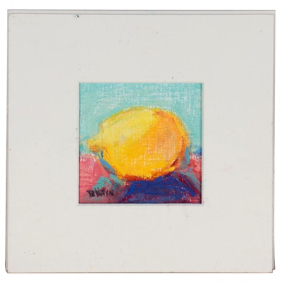 Betsy Heffron Chalk Pastel Still Life Drawing of a Lemon, 21st Century