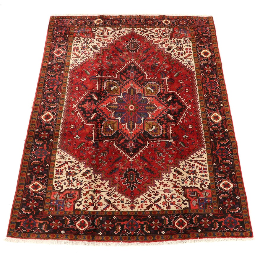 8'3 x 11'0 Hand-Knotted Persian Heriz Ahar Wool Area Rug