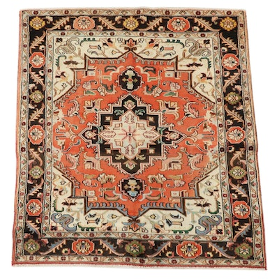 4'9 x 5'6 Hand-Knotted Persian Heriz Wool Area Rug