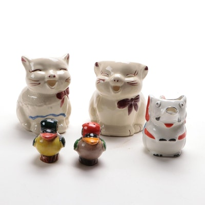 "Shawnee ""Puss 'n Boots"" Ceramic Creamer with Other Novelty Shakers and Creamers"